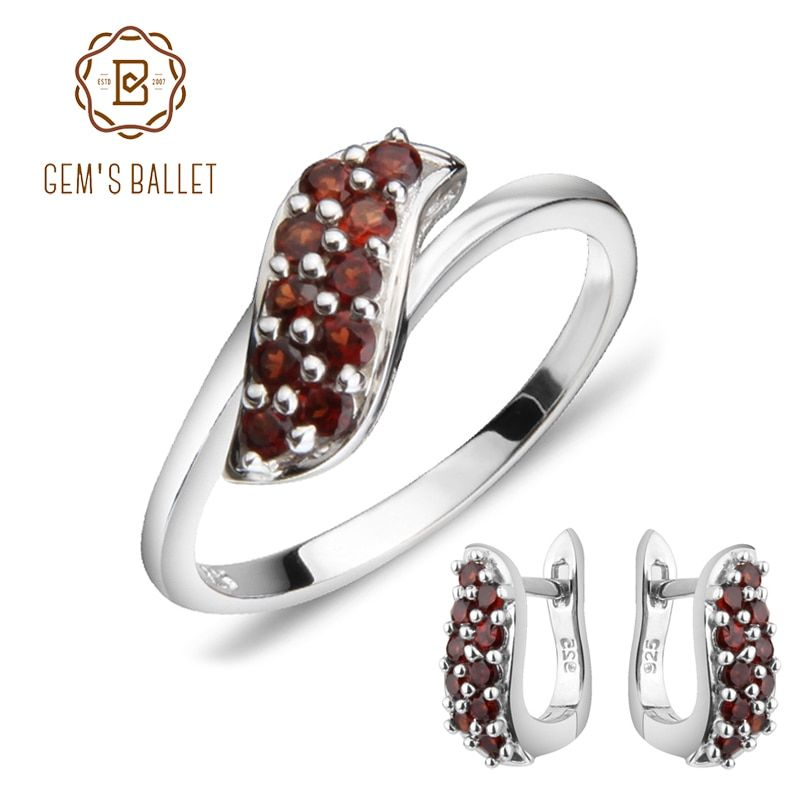 GEM'S BALLET Natural Garnet Rings Clip Earrings 925 Sterling Silver Pomegranate Gemstone Fine Jewelry Set For Women Gift