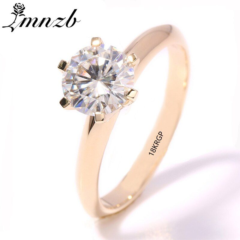 LMNZB Have 18KRGP Stamp Original Yellow Gold Ring 8mm Solitaire Cubic Zircon Stone Wedding Rings for Women With Ring Box LR169