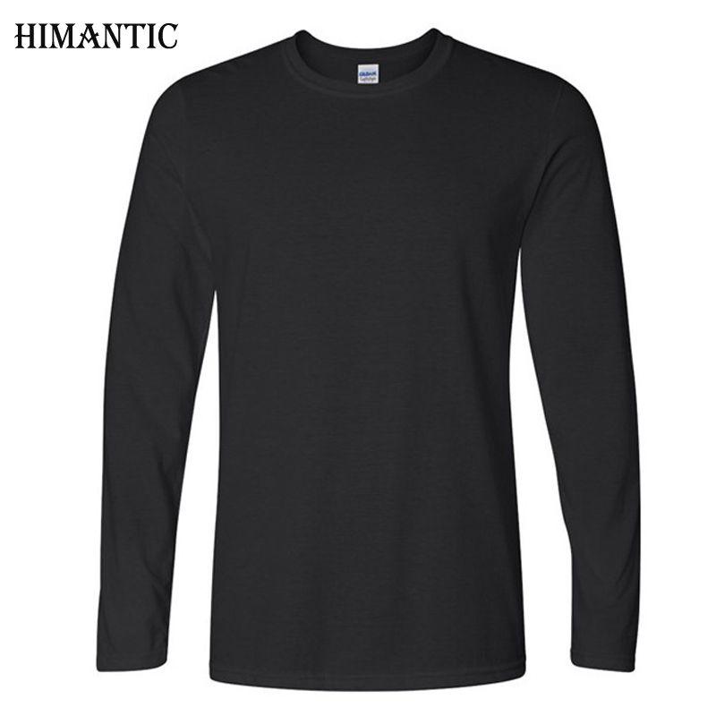 Classique Hommes T shirt À Manches Longues O cou Des Hommes T-shirt Coton T-shirts Tops Hommes Marque t-shirt Plus La taille XS-XXL Shirts