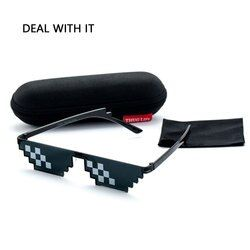 Deal With It Sunglasses Men Thug Life Glasses Women 2018 Bits MLG Pixelated Minecraft Glasse Boy Girl Pixel Male UV400 With Case