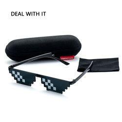 Tratar Con Él de Sol Hombres Thug Life Gafas Mujeres 2017 Caliente venta de Tallas grandes Estilo Minecraft Poligonal 8 Bits Píxeles Con La Nariz Pad