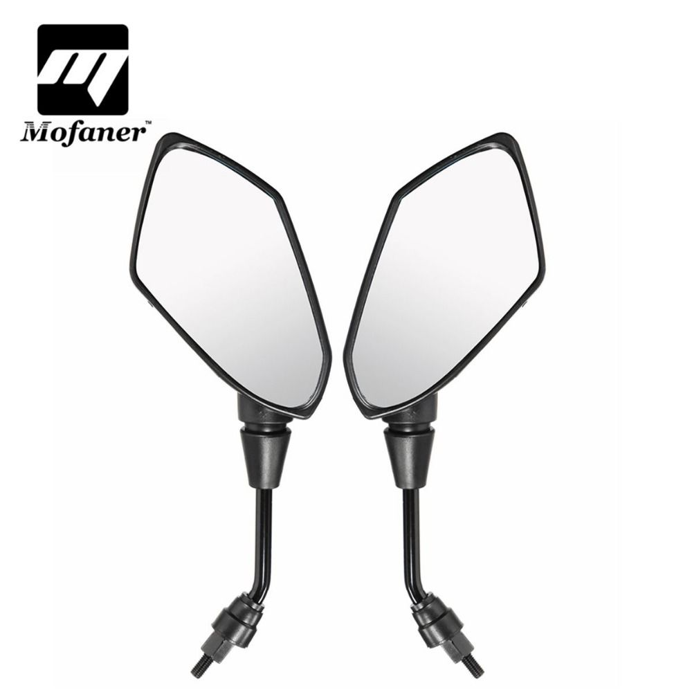 Black Motorcycle Rear View Mirrors Universal Handlebar Side Rearview Mirror 8mm 10mm Fit Scooter E-Bike