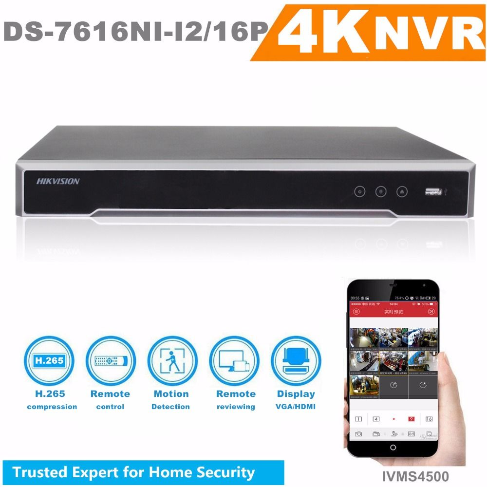 Original HIKVISION H.265 4K NVR 16CH DS-7616NI-I2/16P Professional POE NVR for CCTV Camera System HDMI VGA Plug & Play NVR