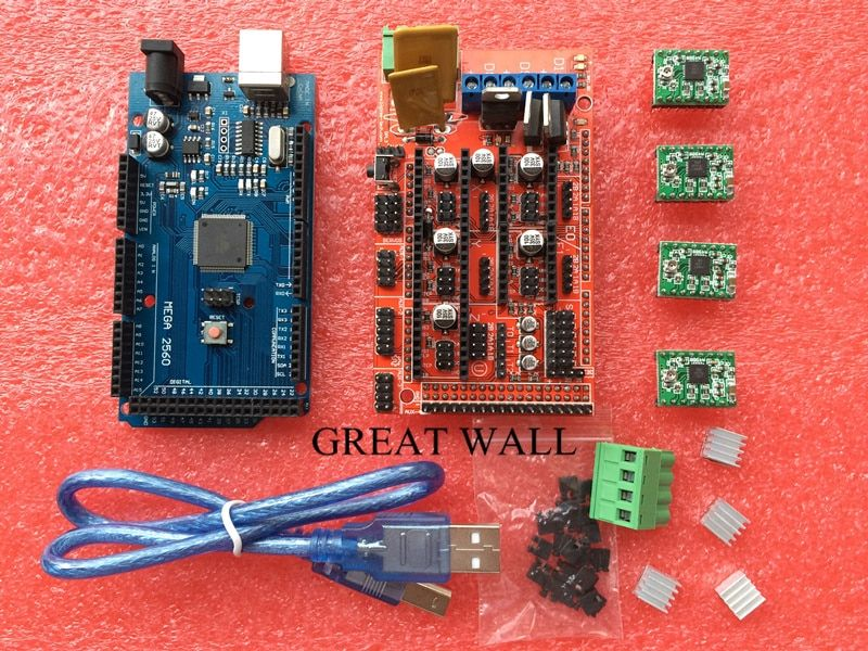 Mega 2560 R3 + 1 unids RAMPAS 1.4 Controller + 4 unids Módulo A4988 paso a paso para el kit de Impresora 3D Reprap MendelPrusa