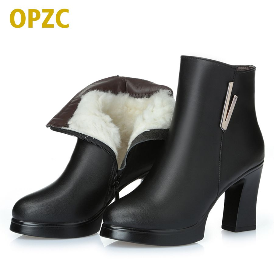 2018 new woman ankle boots. ladies genuine leather snow boots .high-heeled fashion 34# red boots. really winter Ding Shoes