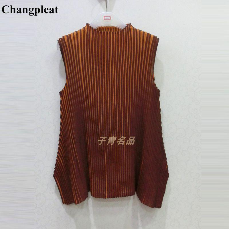 Changpleat Sommer Neue Frauen streifen T-shirts Tops Miyak Plissee Fashion Design rollkragen Tees Big elastische Weibliche T-shirt Flut