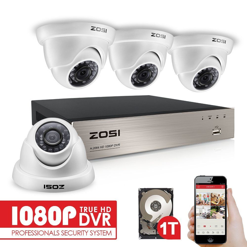 ZOSI 4CH FULL TRUE 1080P HD-TVI DVR Recorder HDMI With 4X 1980TVL Indoor outdoor Surveillance Security Dome Camera System 1TB