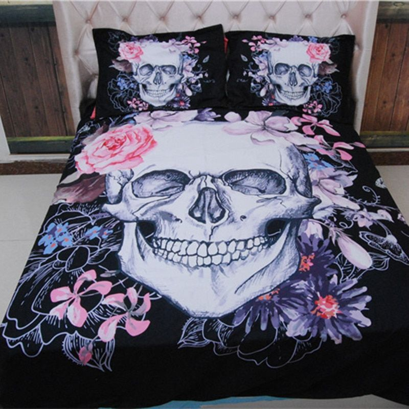 3D Skull Bedding sets Plaid Duvet <font><b>Covers</b></font> for King Size Bed Europe Style Sugar Skull Bedding Pink Flower Duvet <font><b>Cover</b></font>