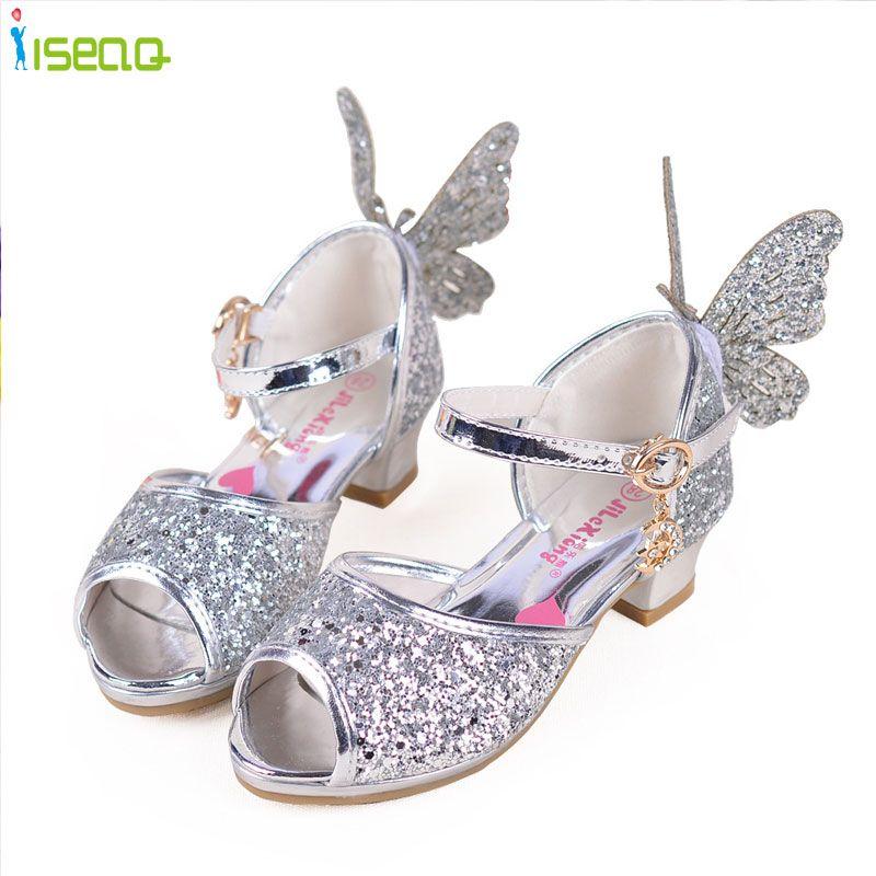 Tacones altos sandalias de Las Muchachas niños de la manera zapatos de princesa Party summer niño elsa zapatos chaussure fille enfants sandalias