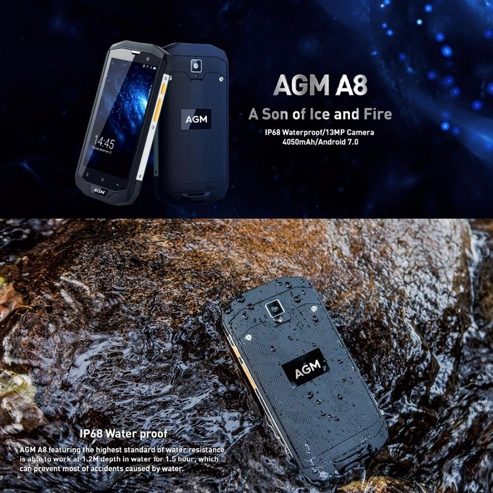 Original AGM A8 4GB RAM 64GB ROM Waterproof Phone 5.0 inch Android 7.0 MSM8916 Quad Core 13MP LTE 4G Smartphone NFC EU Version