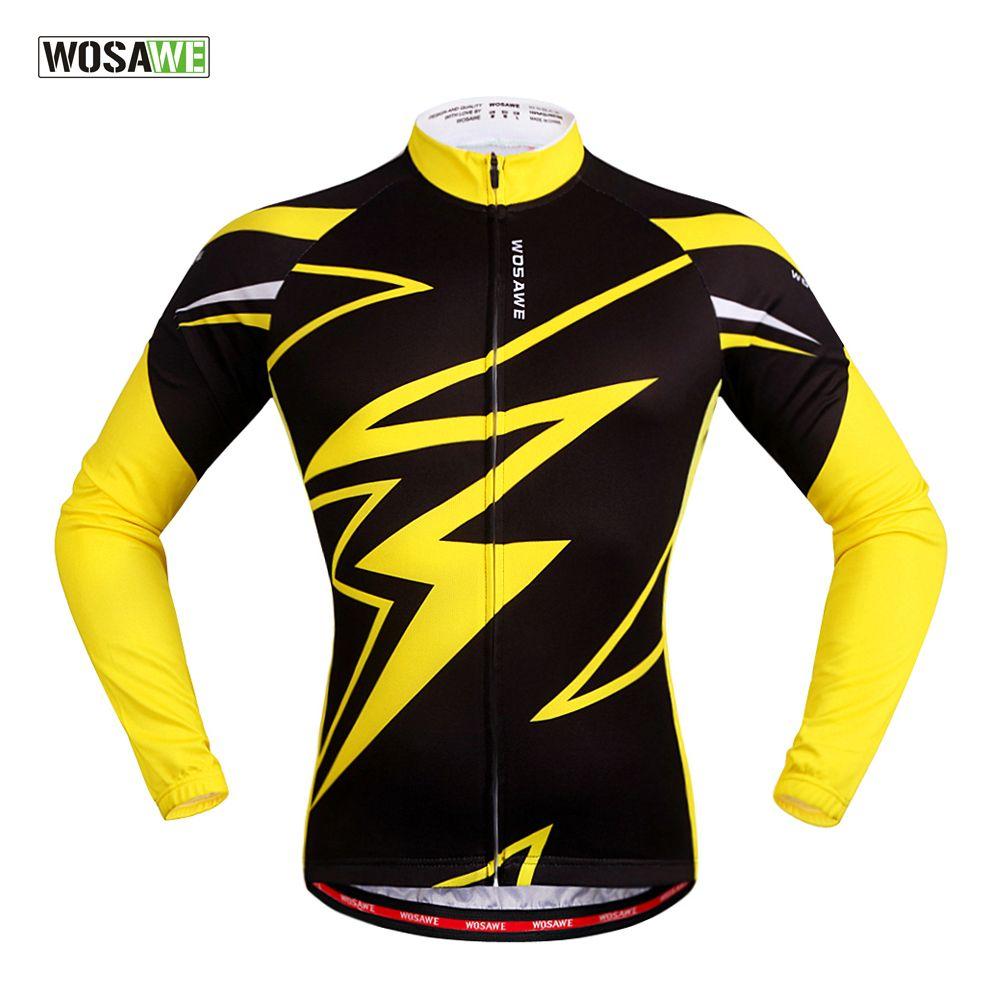 WOSAWE Quick Dry Radfahren Jersey Langarm Sommer Frühling Breathable männer Hemd Fahrrad Wear Racing Tops Radfahren Clothings
