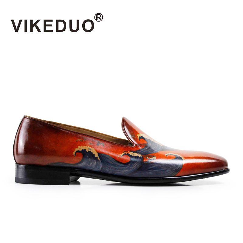VIKEDUO Hecho A Mano 2017 de la moda de lujo del banquete de boda informal diseñador hombre zapato de vestir de ocio zapatos del holgazán de los hombres de cuero genuino