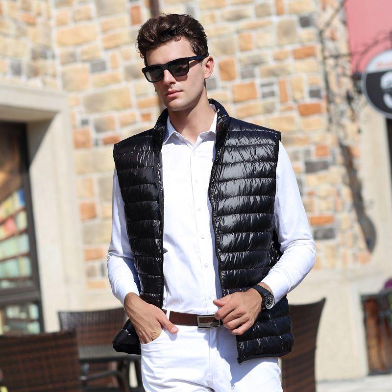 AIRGRACIAS 2017 Nouveaux Hommes de Gilet Chaud Ultra-Léger Vers Le Bas Vestes Gilets Hommes Solide Mince D'hiver Gilet Mâle Léger Manteaux MJ001
