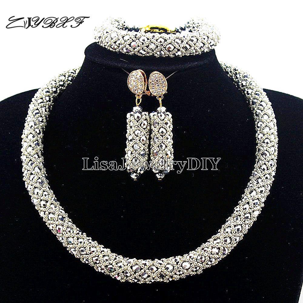 Collar de la Declaración de nigeria Boda Perlas Africanas Joyería Conjunto Cristalino de La Joyería de Traje Africana Sistemas de la Joyería de Perlas L1003
