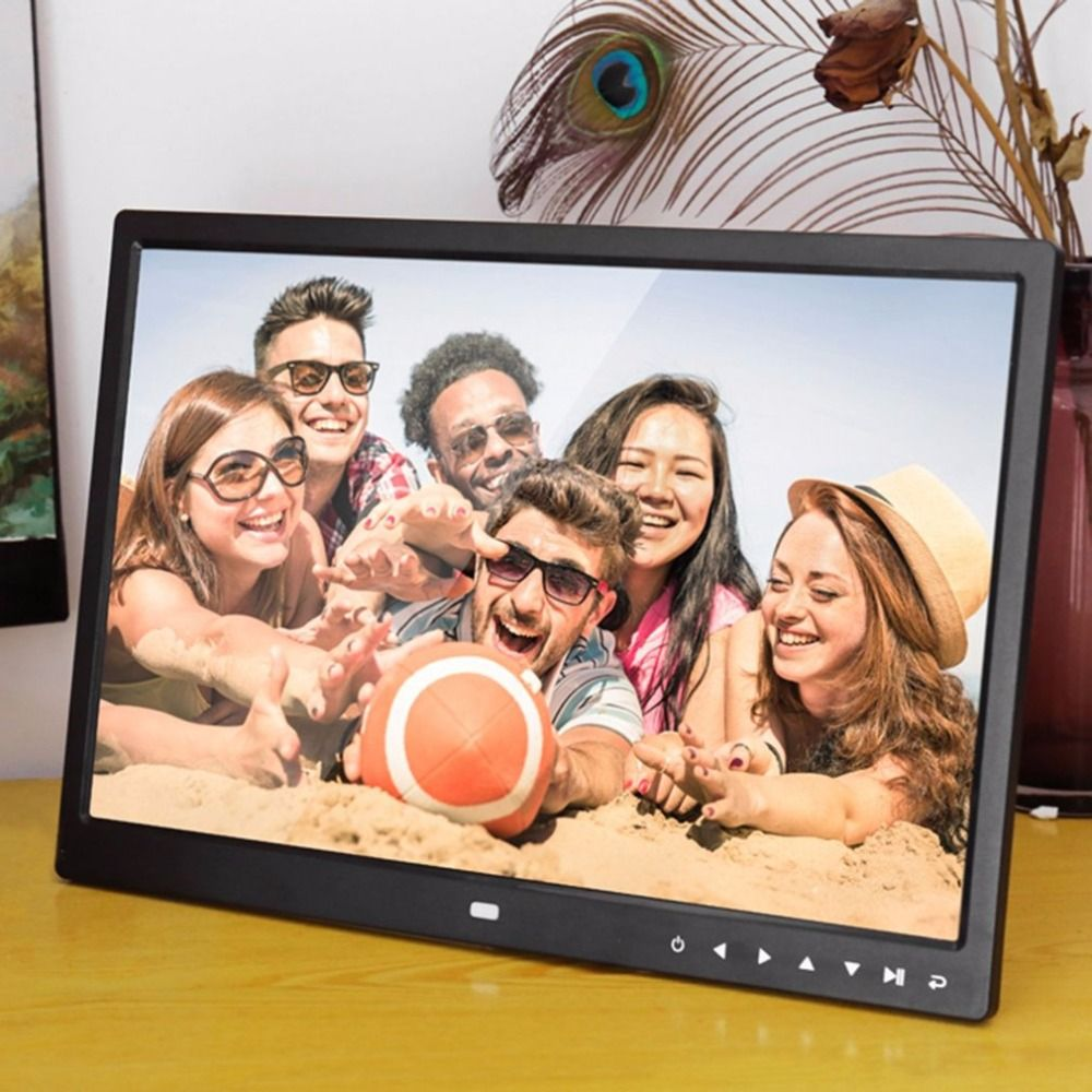 Digital Photo Frame Electronic Album 15 Inches 1280*800 Front Touch Buttons Multi-language LED Screen Pictures Music Video