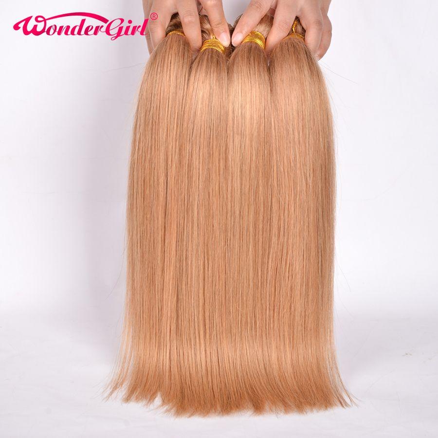Wonder girl 3 Offres de Faisceau de Couleur 27 Miel Blonde Brésilienne Droite Extension de Cheveux 100% de Cheveux Humains Bundles 12-24 pouce Non-remy
