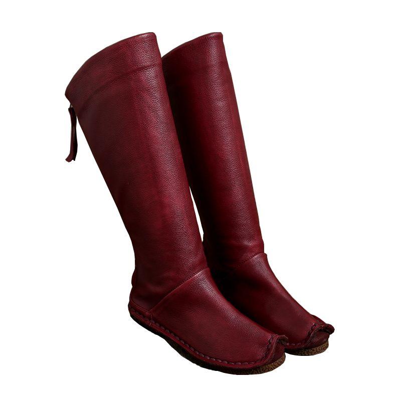 2017 Винтажные женские ботинки до колена Пояса из натуральной кожи молния сзади обувь ручной работы Высокие сапоги
