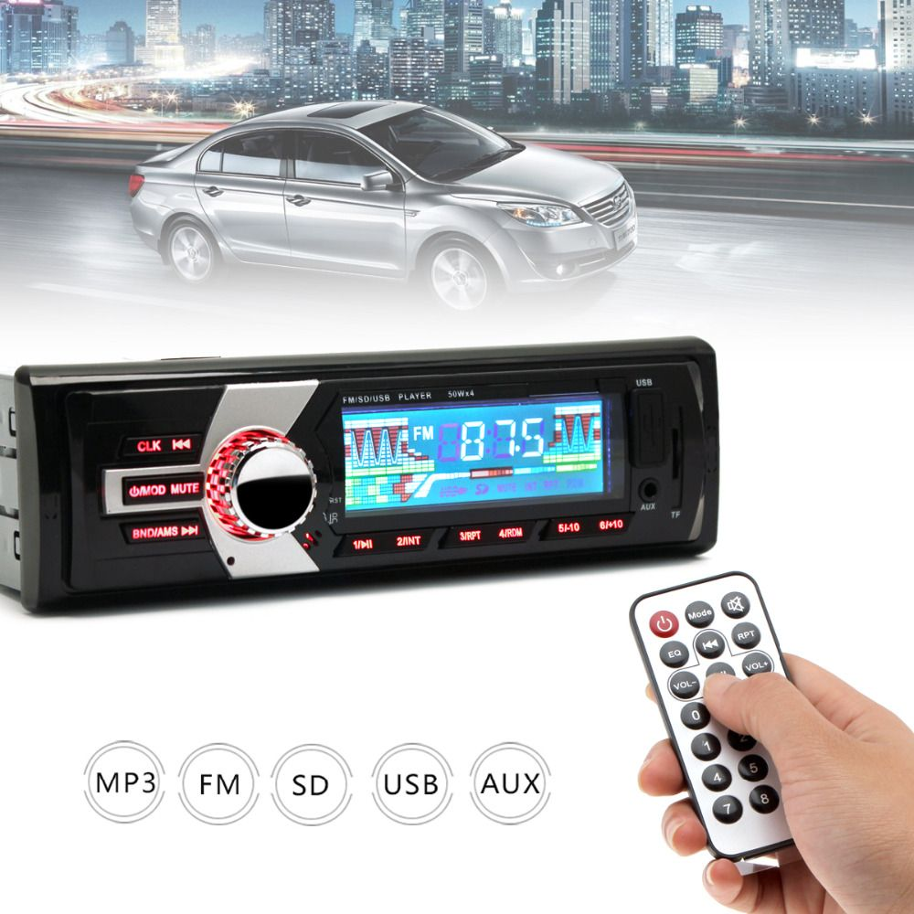 In-Dash Auto Car Radio FM Input Receiver Stereo Audio MP3 Player LCD Display Support SD USB WMA + Remote Control