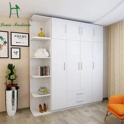 Louis Fashion Simple Modern Economy Bedroom, Wooden Four Big White Wardrobe