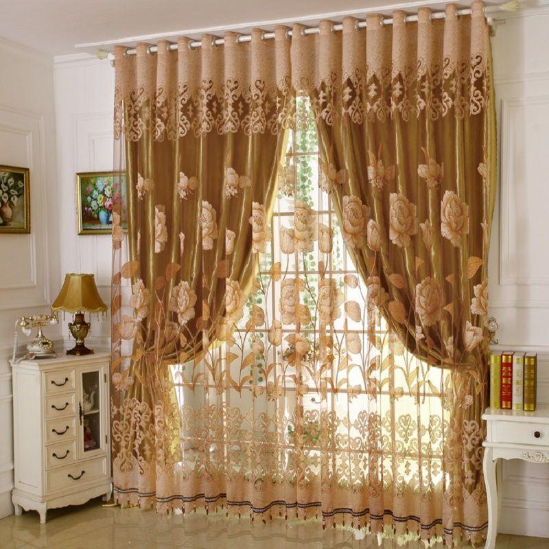 1 PC rideau et 1 PC Tulle luxe Burnout fenêtre rideaux ensemble pour salon européen rideaux occultants pour la chambre
