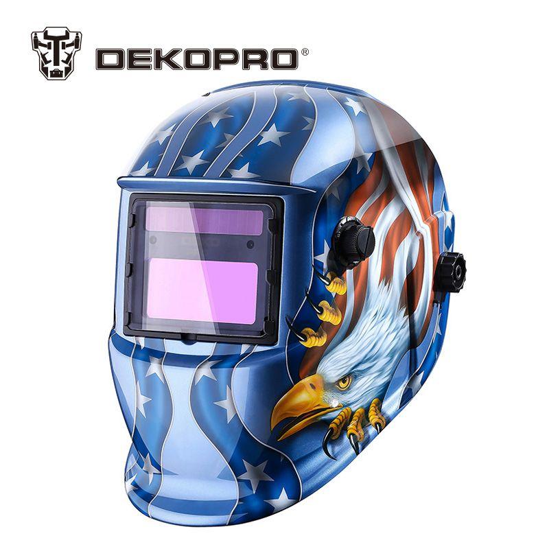 DEKOPRO Eagle Solar Auto Darkening MIG MMA Electric Welding Mask/Helmet/Welder Cap/Welding Lens for Welding Machine