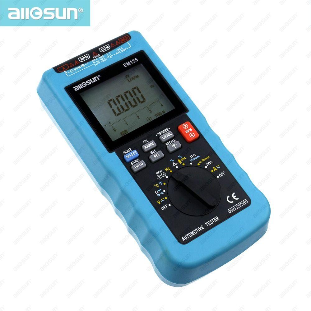 Digital Automotive Multimeter 20A ACA/DCA LCD Autorange Automotive Tester O2-sensor Temp.RPM Dwell Angle all-sun EM135 Modern