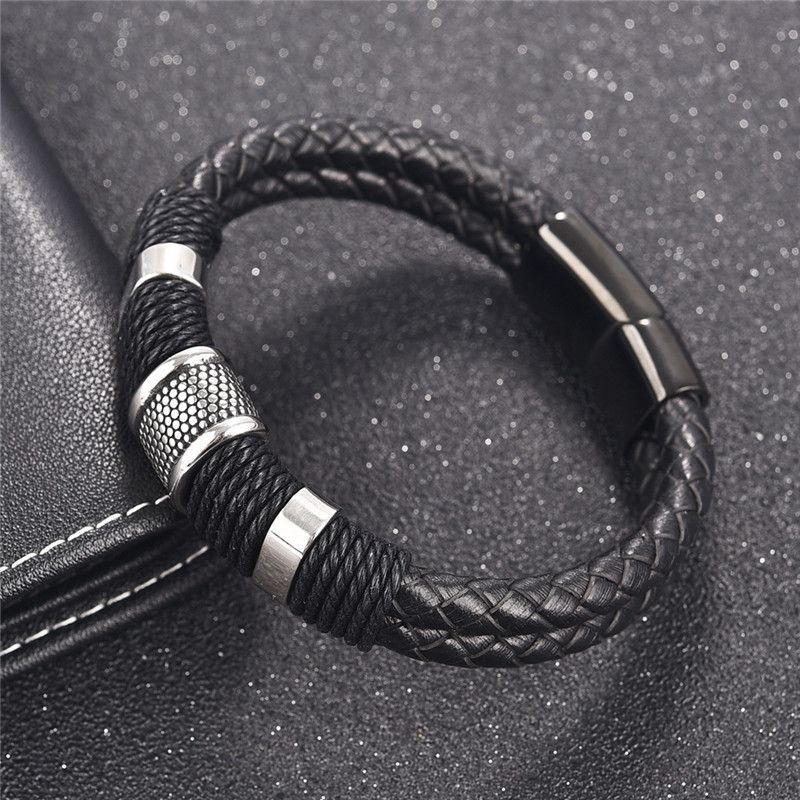 Jiayiqi Braid Genuine Leather Bracelet Titanium Stainless Steel Bracelet Men Woven Bangle Black / Brown / Blue /Red Color
