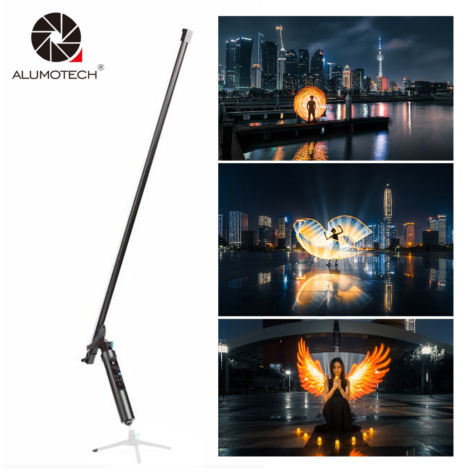 ALUMOTECH Remote Magic Light Flash Plot Stick 144 LEDs The All-In-One Light Painting Tool Animation Blink For Photography Studio