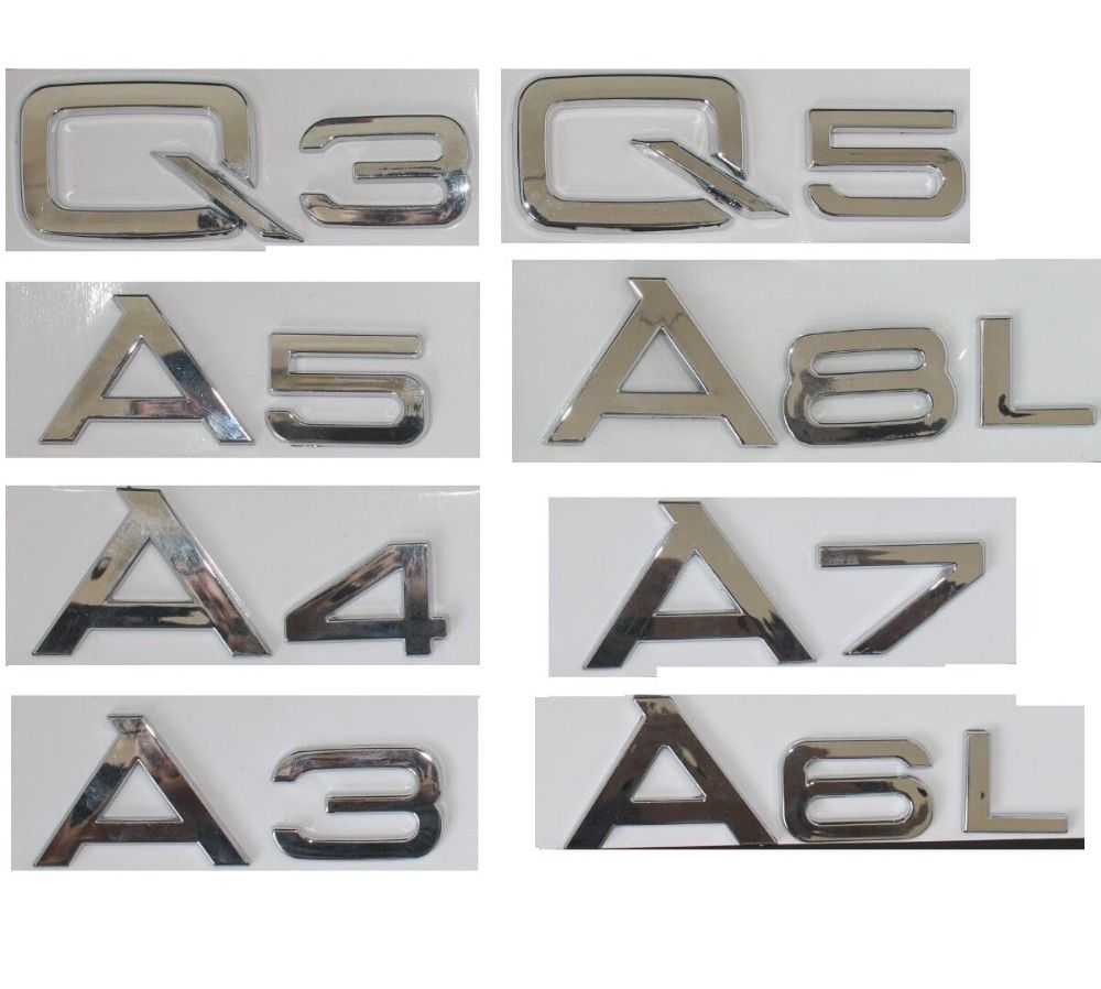 Chrome Shiny Silver Rear Trunk Letters Number Badge Emblem Emblems for Audi A3 A4 A5 A6 A7 A8 A4L A6L A8L Q3 Q5 Q7