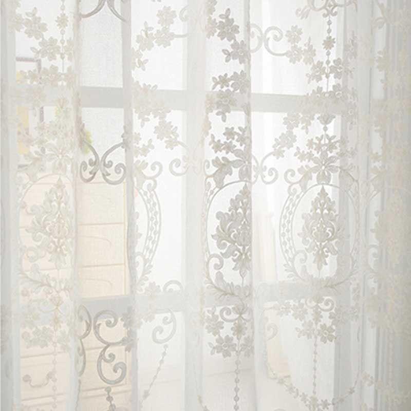 3D stickerei baumwolle leinen pure white Tulle Vorhang schiere vorhang translucidus Tüll vorhang Ösen Stange Tasche WP014 * 15