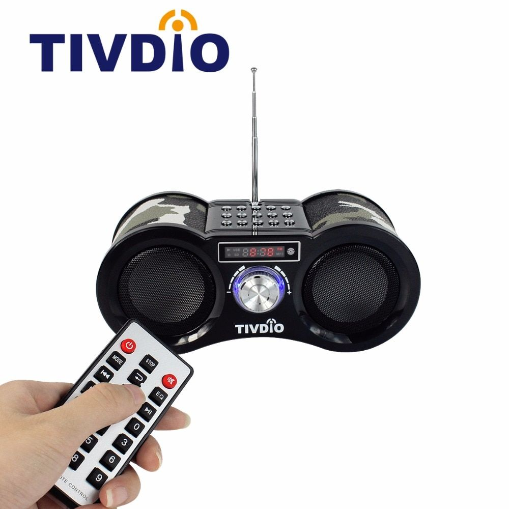 Tivdio V-113 Radio Receiver FM Stereo Portable Transistor Support Mp3 Music Player Speaker Micro SD IF Card AUX <font><b>Remote</b></font> F9203M