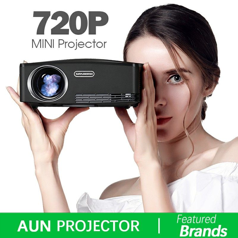 Brand AUN C80 UP. HD MINI Projector, 1280x720, Android Projector, WIFI, Bluetooth. Video Beamer. 1080P, HDMI, USB, Optional C80