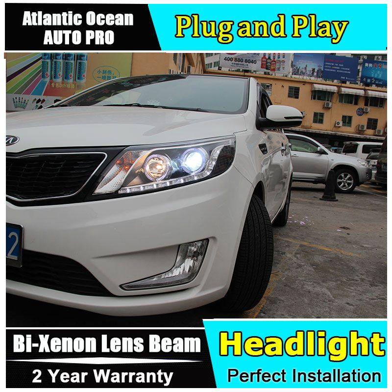 AUTO. PRO 2011-2014 Für kia rio k2 scheinwerfer LED DRL parkplatz lichter tränen augen bi xenon objektiv Für kia k2 kopf lampen auto styling