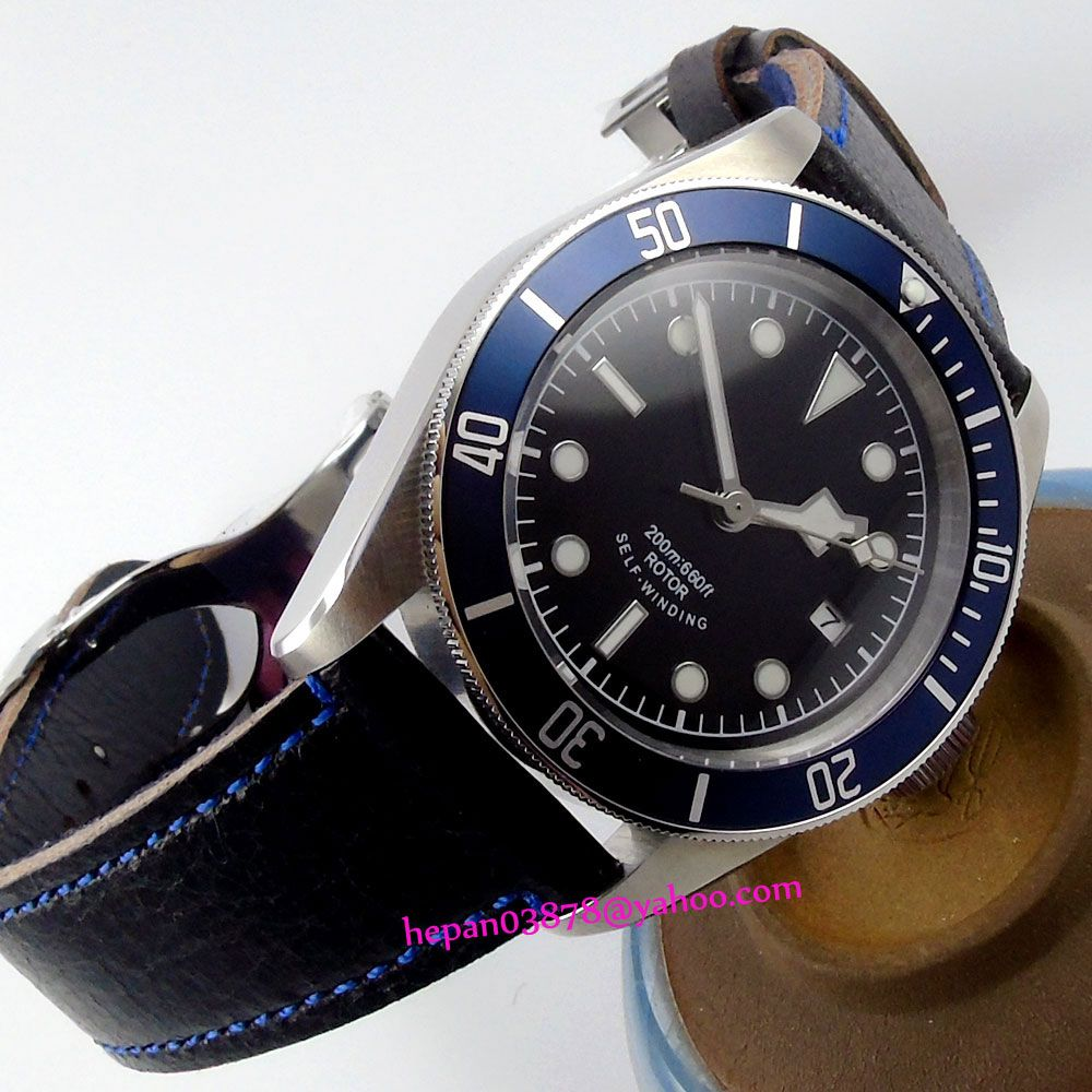 41mm Corgeut black sterile dial luminous blue Bezel sapphire glass MIYOTA Automatic Men's watch P180