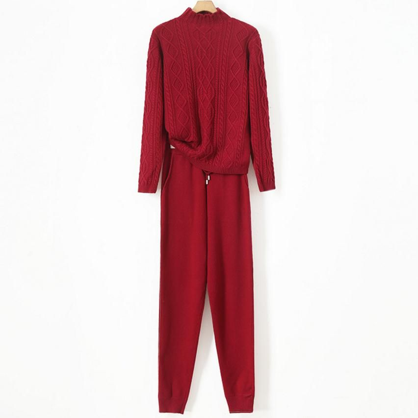 Winter Sweater suit woolen + Mink Cashmere Trousers Leisure Two-piece suits elastic waist stand collar Knitted warm Suit wj1498