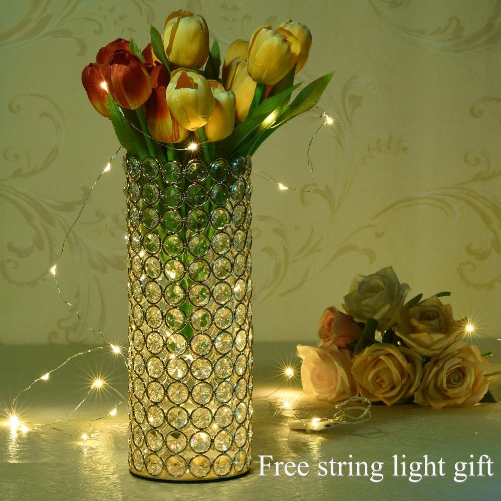 Gold Kristall Zylinder Glas Vasen für Home Weihnachten Mittelstücke Dekorationen Geburtstag Jahrestag Geschenke