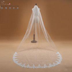 Voile Mariage 3 M Une Couche de Bord de Lacet Blanc Ivoire Cathédrale Voile de mariage Long Voile De Mariée Pas Cher De Mariage Accessoires Veu de Noiva
