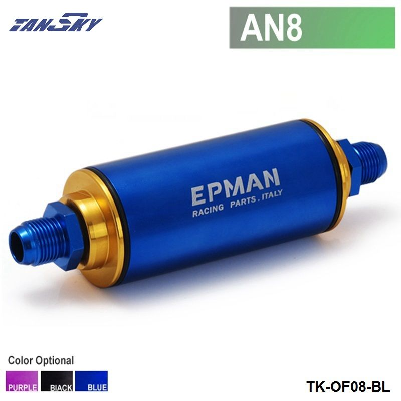 TANSKY - Racing Ready Inline Fuel Filter AN8  Blue with 100 Micron Element TK-OF08