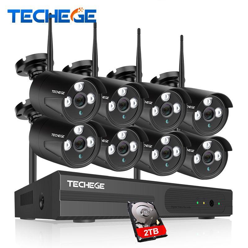 Techege 8CH CCTV System 960P NVR 8PCS 1.3 MP IR Outdoor P2P Wireless Wifi IP CCTV Camera Security System Surveillance Kit