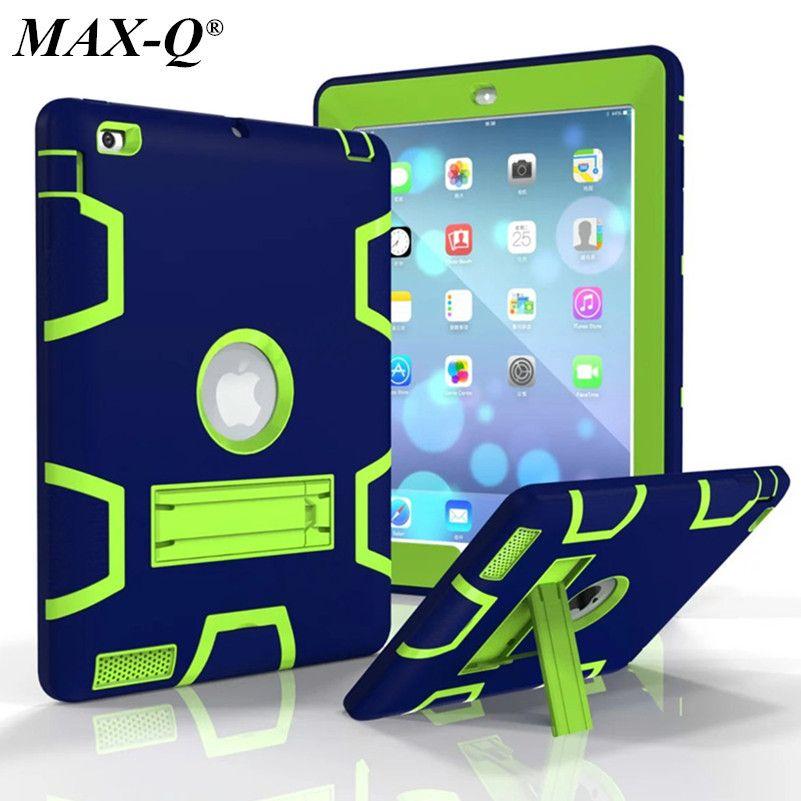 MAX-Q For <font><b>iPad</b></font> 2 <font><b>iPad</b></font> 3 <font><b>iPad</b></font> 4 Case High Impact Resistant Hybrid Three Layer Armor Defender Full Body Protective PC Case Cover