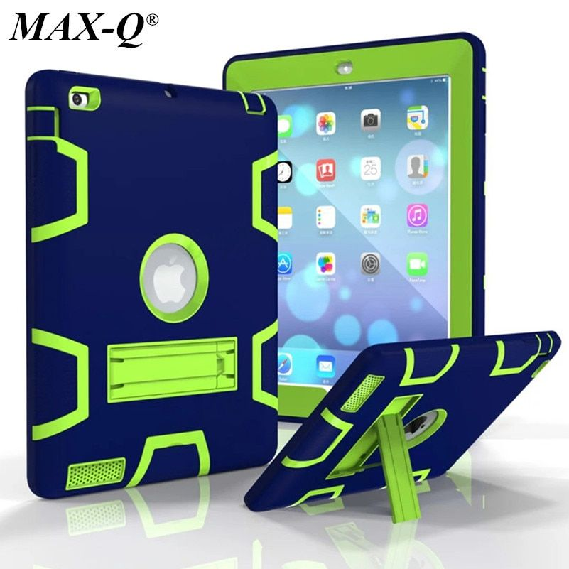MAX-Q For iPad 2 iPad 3 iPad 4 Case High Impact Resistant Hybrid Three Layer Armor Defender Full Body Protective PC Case Cover