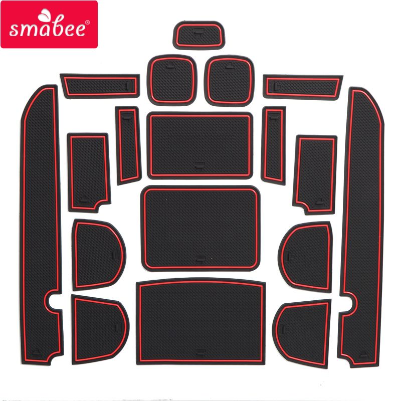 smabee Gate slot pad For FOR NISSAN NAVARA D40 4DR 2008-2012 Interior Door Pad/Cup Non-slip mats 18pcs red/blue/white