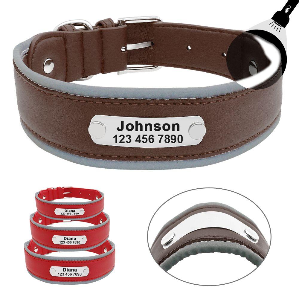 Grand collier de chien réfléchissant en cuir colliers de chien de compagnie personnalisés coleira para cachorro pour les grands chiens Pit Bull berger allemand