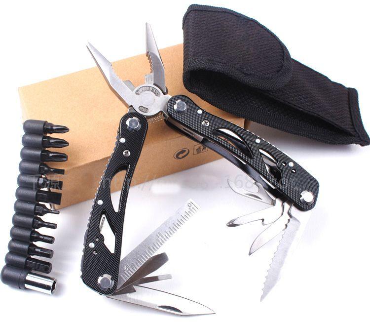 Nouveau design WORKPRO 15 en 1 Poche Premium Multitool Avec Gaine Couteau Pince Vu Tournevis Ciseaux outils de plein air