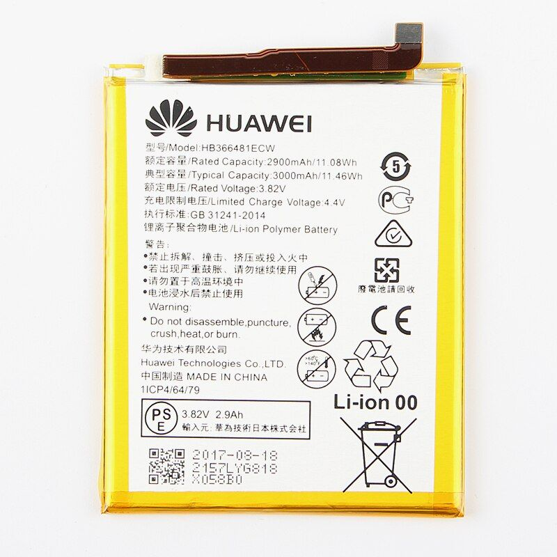 Original Huawei HB366481ECW Rechargeable Li-ion phone battery For Huawei P9 Ascend P9 Lite G9 honor 8 5C G9 2900mAh