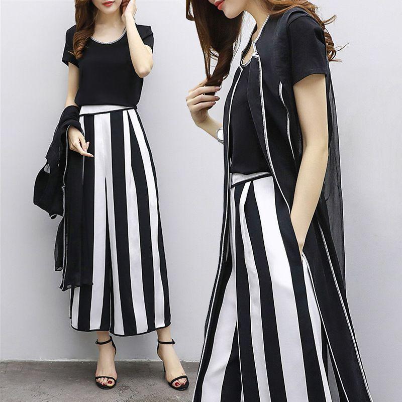 2018 summer big size women's short sleeved T-shirt, striped legged pants fashion suit, casual three piece set of female LQ0115