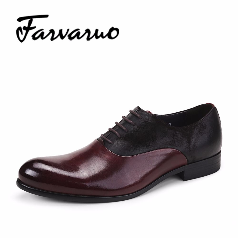 Farvarwo Mens Dress Wedding Shoes Genuine Leather Oxford Shoes for Men Italy 2018 Casual Pointed Breathable Formal Oxfords Black