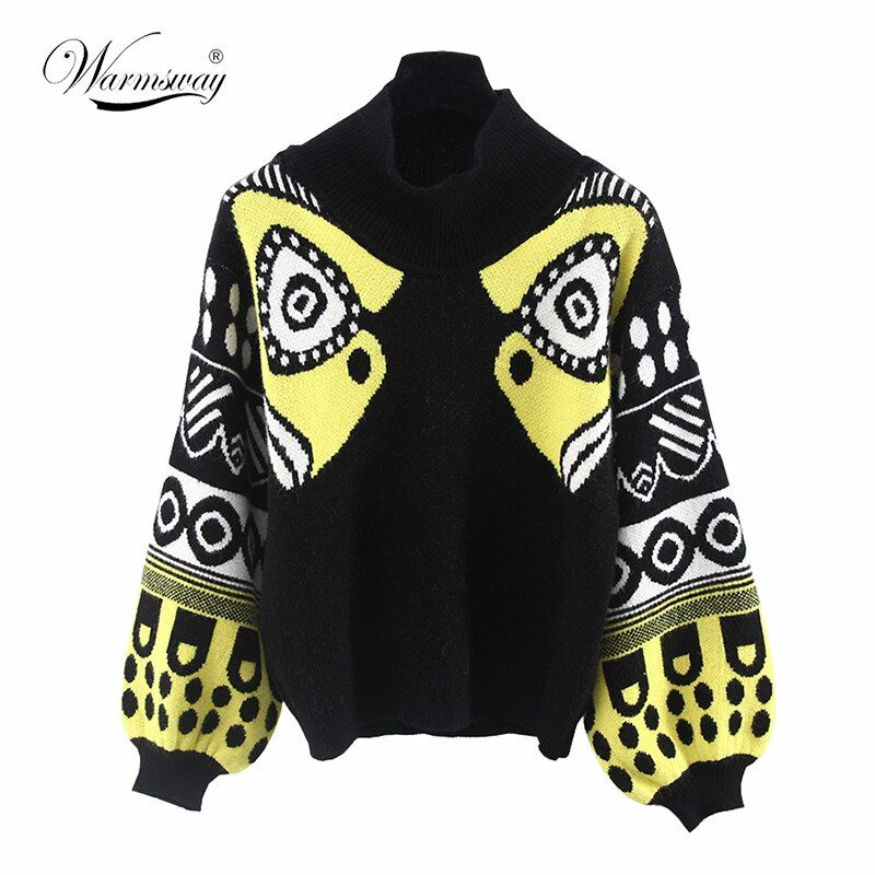 Celebrity Style Fall Winter HARAJUKU Multicolour half TurtleNeck Knitted top Women Sweaters and Pullovers Female Knitwear C-011