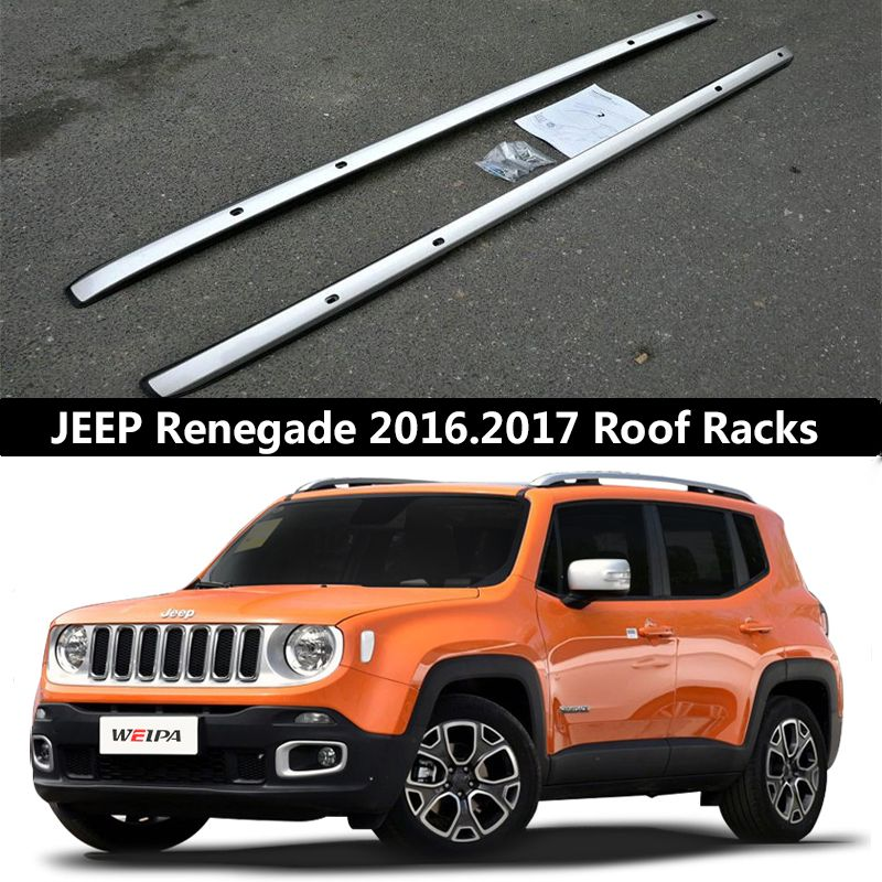 For JEEP Renegade 2016 2017 Roof Rack Rails Bar Luggage Carrier Bars top Cross Racks Rail Boxes Aluminum alloy Screw fixing OEM