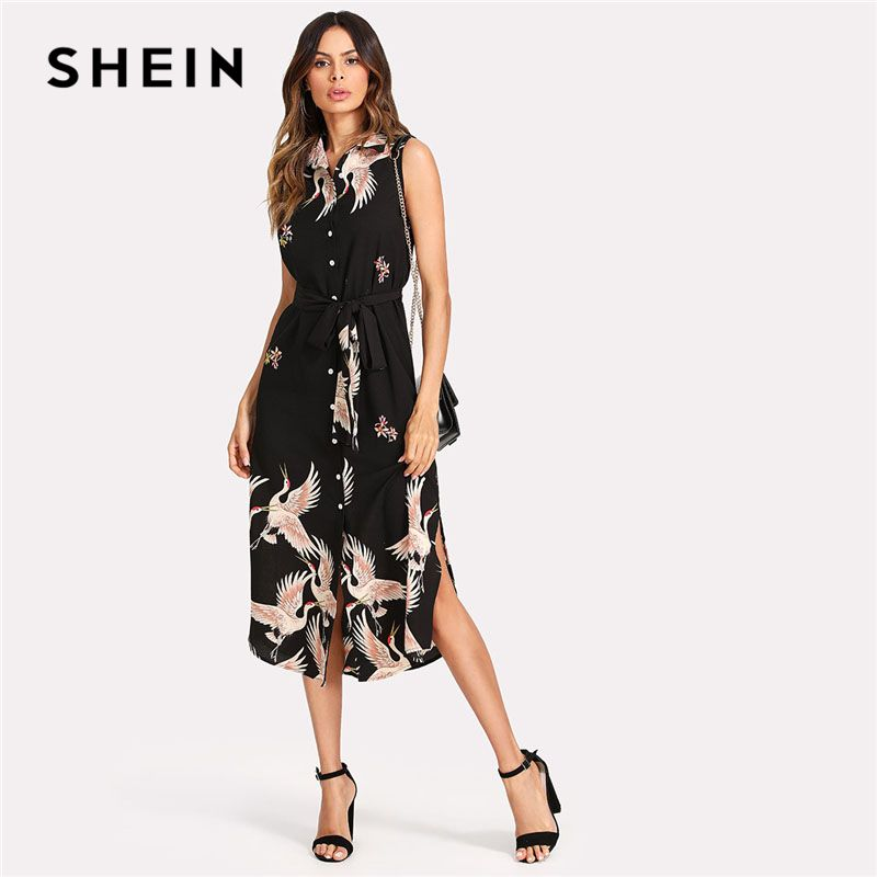 SHEIN Floral Crane Print <font><b>Button</b></font> Up Curved Hem Dress Women Sleeveless Belted Chiffon Shirt Dress 2018 Summer Beach Boho Dress